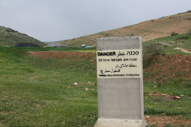 One of many Israeli army firing areas declared next to bedouin homes