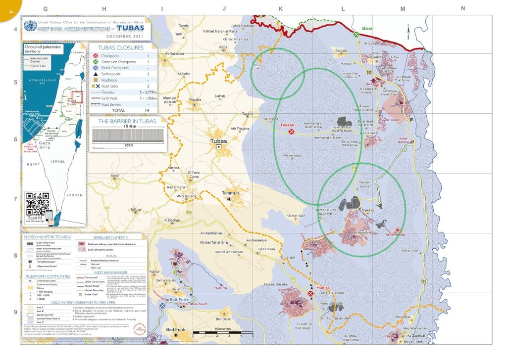 Map showing areas in the northern Jordan ~Valley particularly affected by 'Austere Challenge 2012' military training