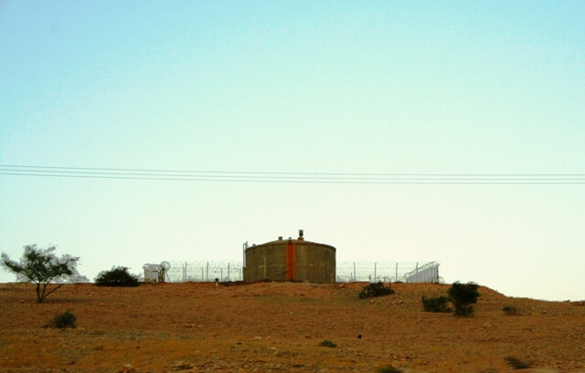 Israeli water tank on the hill above Ein El Hilwe