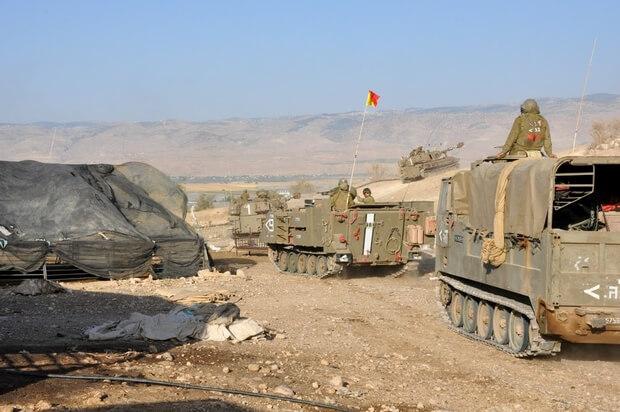 Israeli military forces leave Khirbet el alHama (MEE/Emily Mulder)