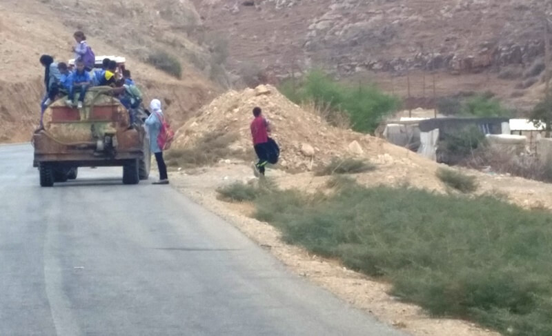 Without a school bus children iun the Jordan Valley have no safe way to trvel to school